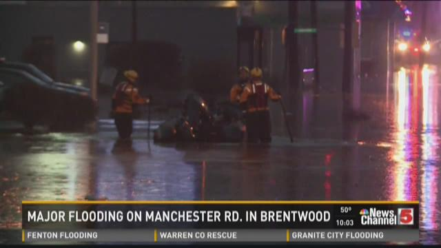 Major flooding on Manchester Road in Brentwood