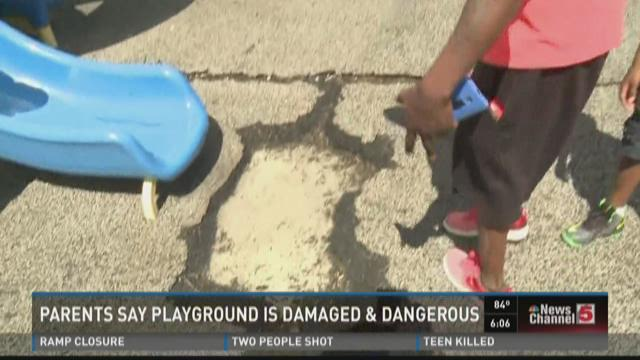 Parents say playground is damaged and dangerous