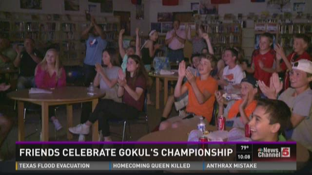 Friends celebrate Gokul's championship