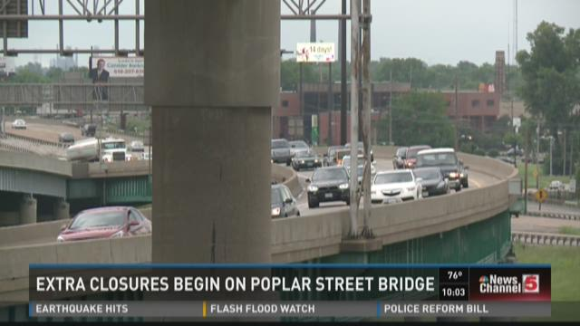 Poplar Street Bridge construction begins