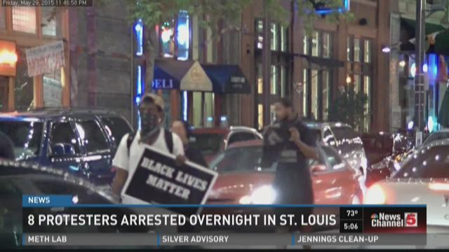 Eight protesters arrested overnight in St. Louis