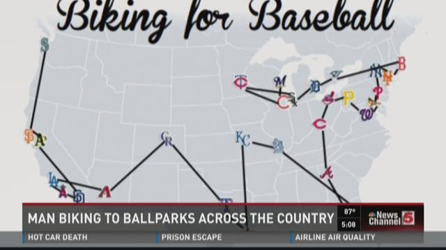 Man Biking to Ballparks across the country