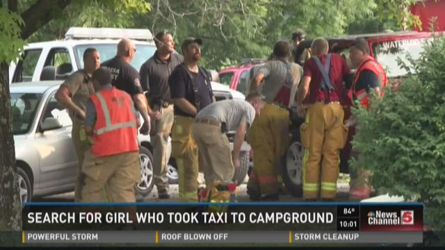 Search for girl who took taxi to campground