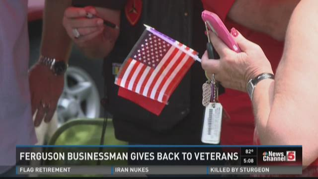 Businessman helping Marines on July 4