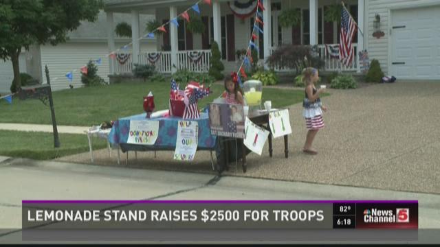 Lemonade stand raises $2,500 for troops