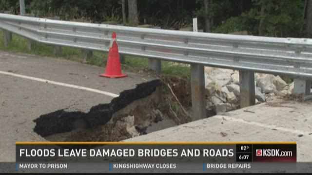 Floods leave damaged bridges and roads