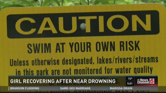 Girl recovering after near drowning