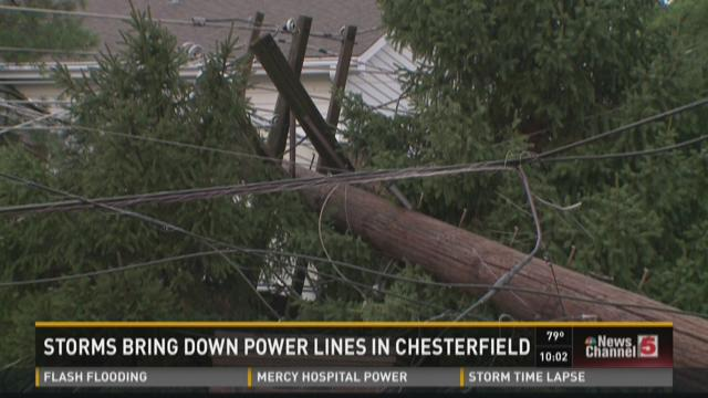 Storms bring down power lines in Chesterfield