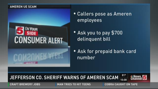 Jefferson Co. sheriff warns of Ameren scam