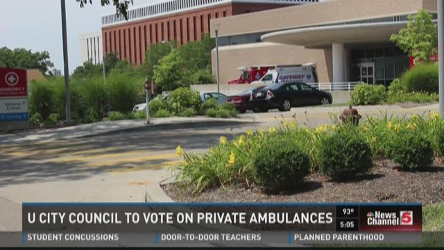 U City council to vote on private ambulances
