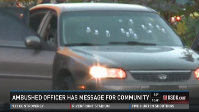 Ambushed officer has message for community