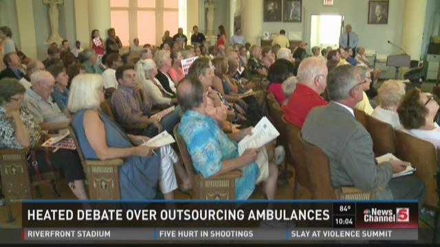 Heated debate over outsourcing ambulances
