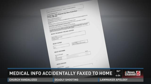 Medical ingo accidentally faxed to home