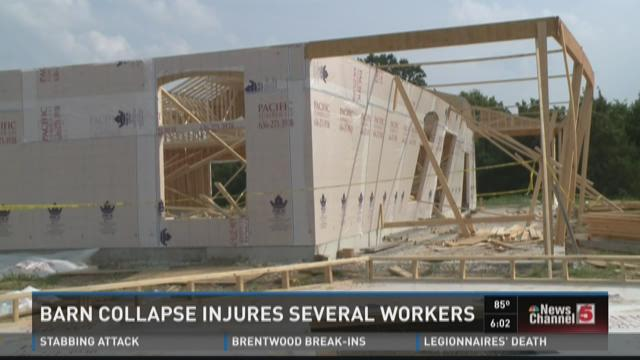 Barn collapse injures several workers