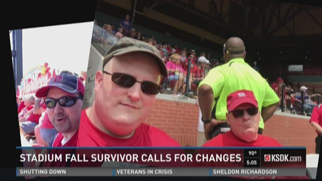 Stadium fall survivor calls for changes