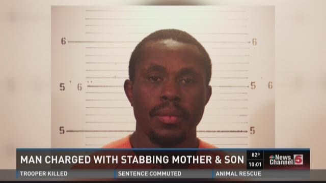 Man charged with stabbing mother and son