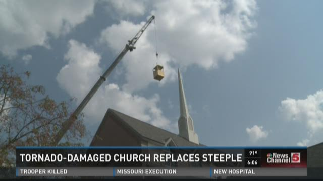 Tornado-damaged church replaces steeple
