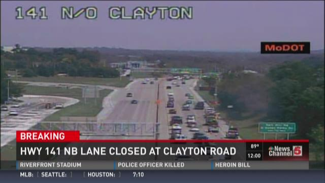 Hwy 141 NB lane closed at Clayton Road
