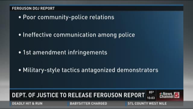 Dept. of Justice to release Ferguson report