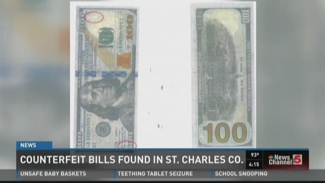 Counterfeit bills found in St. Charles County