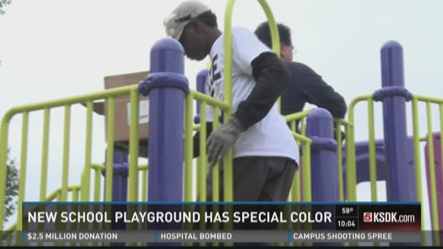 New school playground has special color