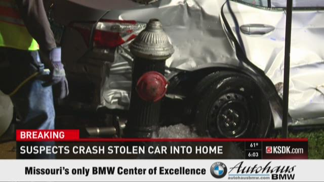 Suspects crash stolen car into home