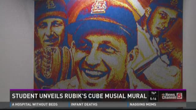 Student unveils Rubik's cube Musial mural