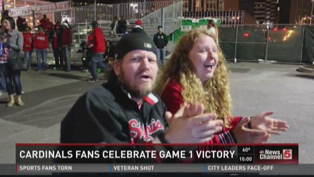 Cardinals fans celebrate NLDS Game 1 victory