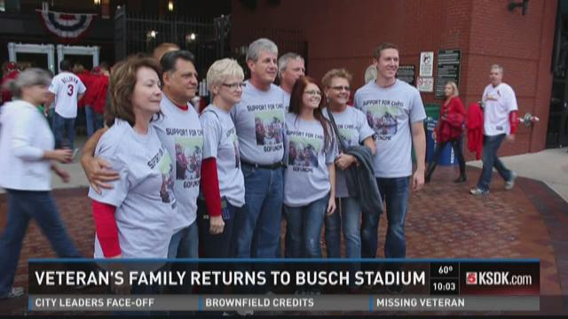 Veteran's family returns to Busch Stadium