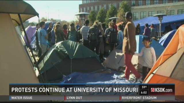 COLUMBIA, MO - NOVEMBER 9: Tents remain on the Mel Carnahan quad on the campus of University of Missouri - Columbia on November 9, 2015 in Columbia, Missouri. Students saw the resignation of University of Missouri System President Tim Wolfe and Chancellor R. Bowen Lofton, amid allegations of racism. (Photo by Michael B. Thomas/Getty Images)